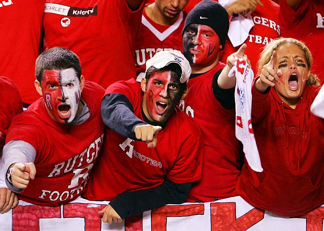 Rutgers fans cheered the Scarlet Knights during their epic game against Big East rival Louisville on Thursday.