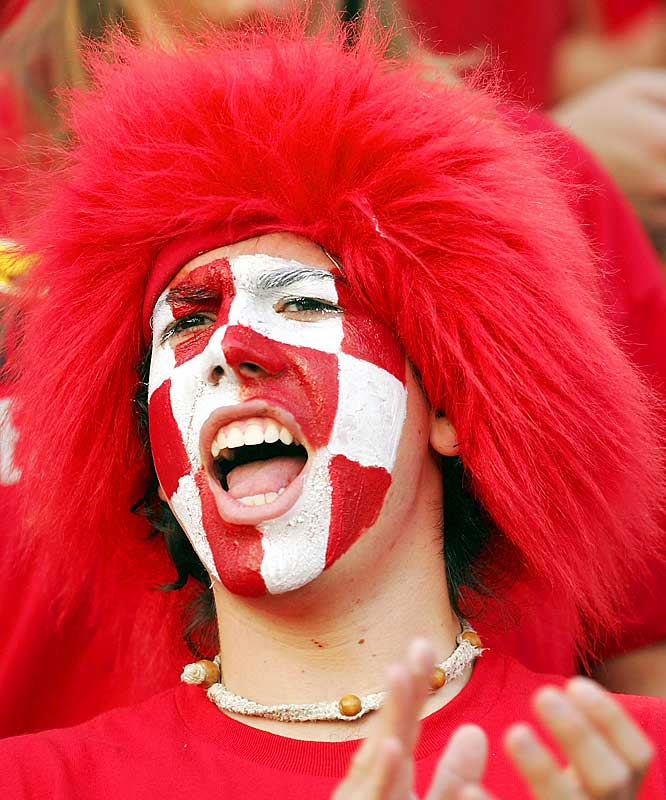 A Maryland fan went all out in a wig and face paint as his Terps fought to a 14-13 victory over Miami on Saturday.