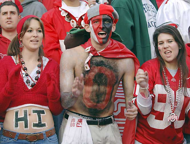 This Buckeye fan used her stomach to wish everyone a warm hello.
