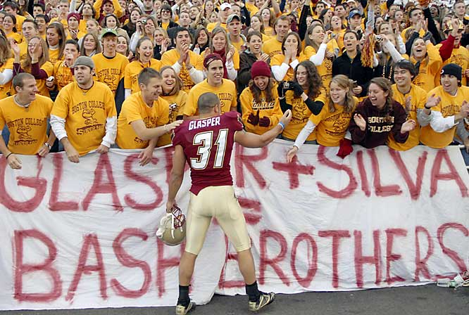 Boston College safety Ryan Glasper made merry with his fan section after the 38-16 win over Maryland.