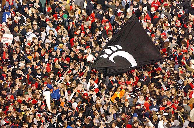 Cincinnati fans celebrated after the Bearcats defeated the previously undefeated Rutgers 30-11 on Saturday at Nippert Stadium..