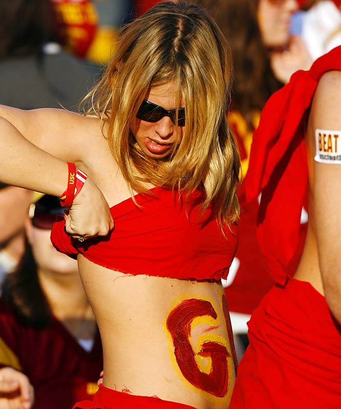 This Trojan fan barely avoided a wardrobe malfunction during the early stages of USC's 44-24 trouncing of the Fighting Irish.