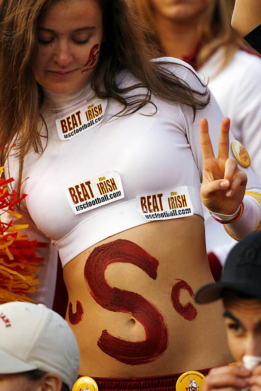 Some well placed stickers do the talking for this Trojans fan.