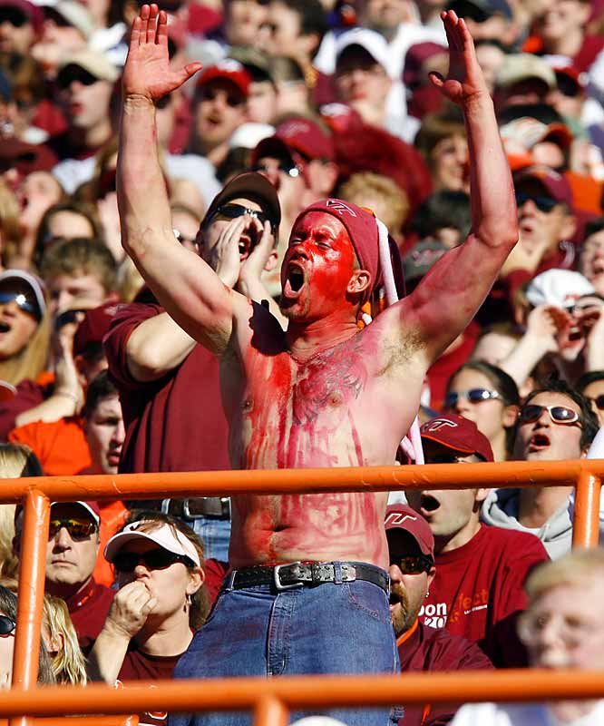 A Virginia Tech fan cheered on the Hokies during their 17-0 victory over Virginia on Saturday.