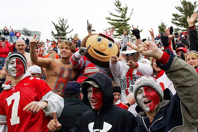 Brutus, the Ohio State Buckeyes mascot was in the stands to celebrate with fans during Saturday's 17-10 victory over Illinois.