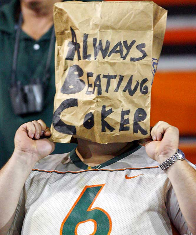 A Miami fan couldn't bear to watch what has become of the once-mighty Hurricanes, who dropped another ACC game on Saturday.