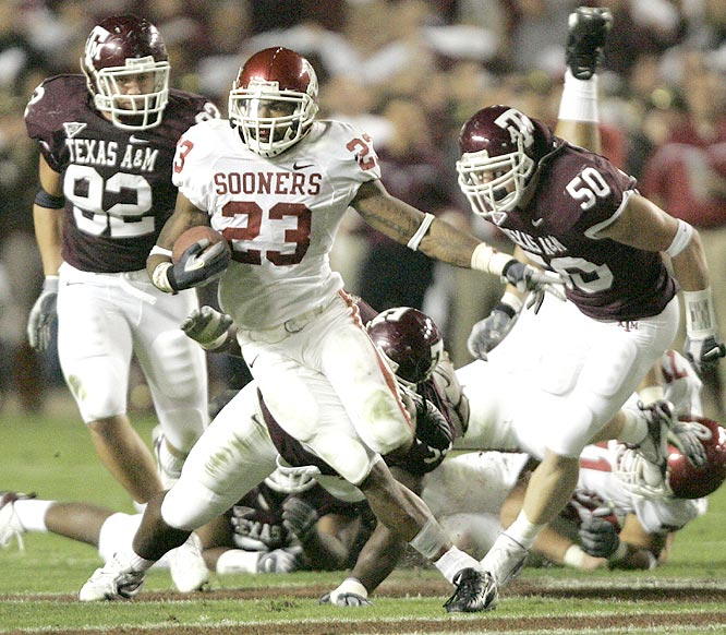 Allen Patrick (23) ran for 167 yards, his third straight 100-yard rushing game since Adrian Peterson's injury, as the Sooners edged A&M.