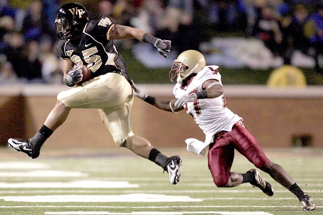 Richard Belton (left) and the Demon Deacons held off the Eagles to move to 8-1 for the first time since 1944.