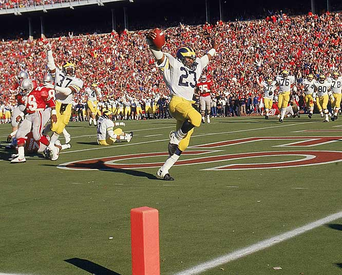 Michigan quarterback Jim Harbaugh publicly guaranteed the Wolverines would win in Columbus, and kept his promise. Michigan fell behind 14-3, but running back Jamie Morris' 210 yards and two touchdowns and a late, missed field goal by OSU kicker Matt Frantz helped send the Wolverines to Pasadena.
