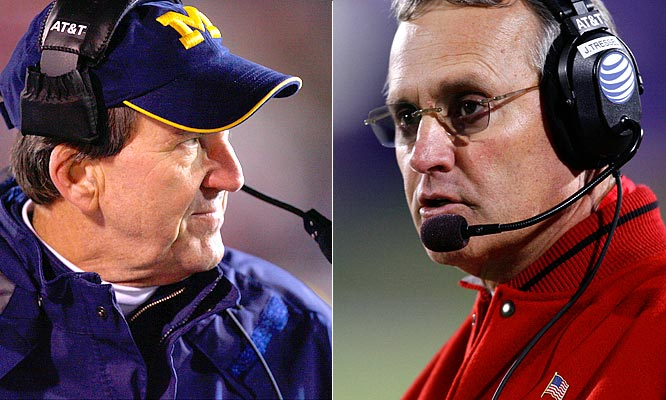 The Big Game this Saturday between the nation's No. 1 and No. 2 teams pits Jim Tressel (R) of Ohio State against Michigan's Lloyd Carr. In this head-to-head battle, Tressel owns a 4-1 record. The following player matchups could determine who plays for the national championship.