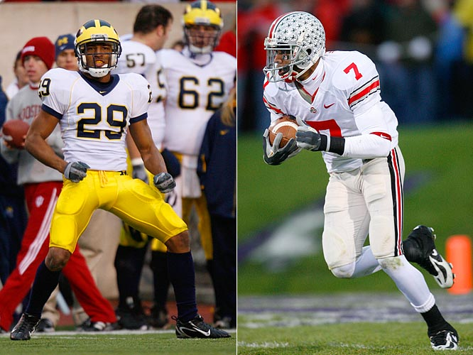 "Michigan cornerback Leon Hall, a 5'11"", 193-pound senior will cover Ohio State flanker Ted Ginn Jr. a 6', 180-pound junior"