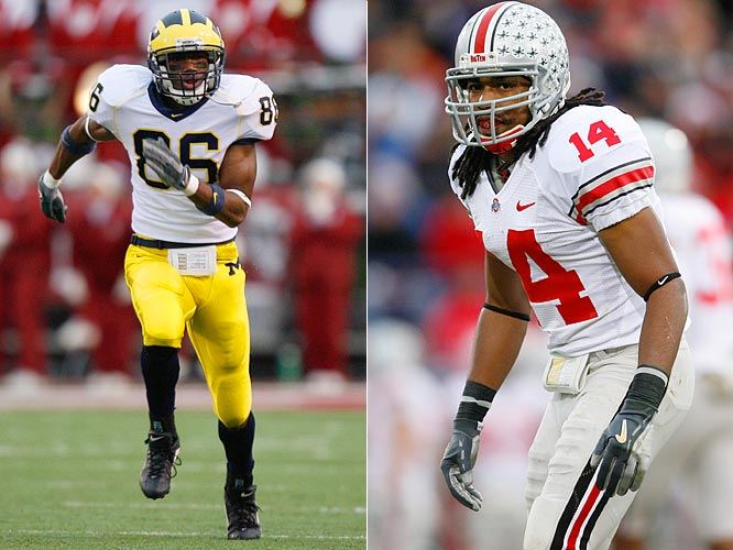 Michigan wide receiver Mario Manningham, a 6', 182-pound sophomore will challenge Ohio State cornerback Antonio Smith, a 5'9, 195-pound senior.