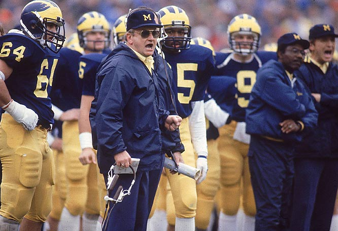 Schembechler was known for his fiery antics on the sidelines. His teams were known for stout defenses and a bruising running game.
