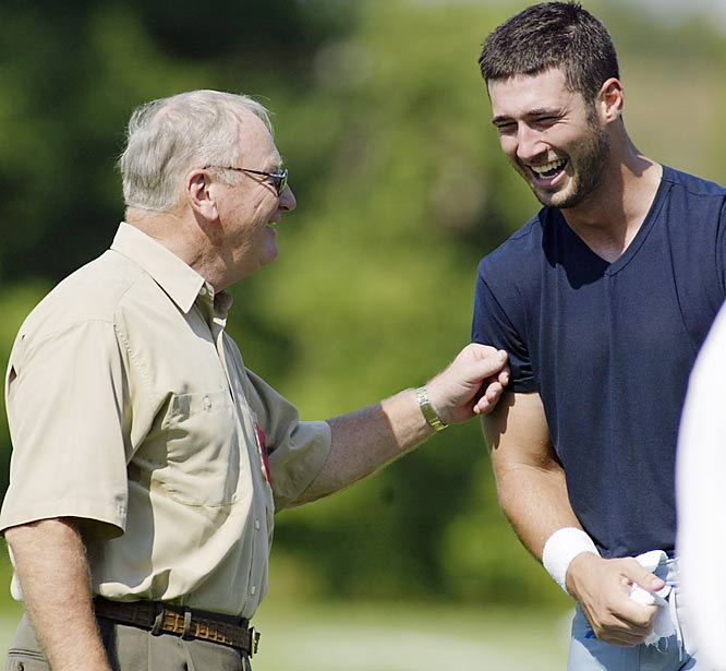 Schembechler, shown here with former Detroit Lions quarterback Joey Harrington, had a well-documented battle with heart disease. He suffered one heart attack on the eve of his first Rose Bowl, in 1970, and another one in 1987. He had two quadruple heart bypass operations. During a hospitalization last month, Schembechler had a device implanted to regulate his heartbeat. He was 77 when he died.