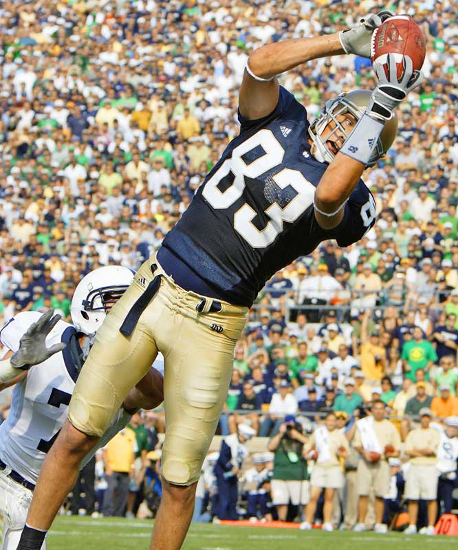 After coming out of nowhere and rewriting the Notre Dame record books last season, Samardzija has enjoyed solid production (43 catches, 509 yards and seven touchdowns) in his final season at Notre Dame. And as evidenced by his 45-yard, game-winning touchdown against UCLA, he's always had a flair for the dramatic.