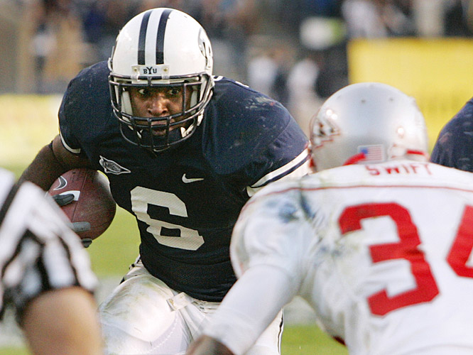 Curtis Brown ran for 124 yards and became the leading rusher in BYU history as the Cougars celebrated their first MWC title since 2001 and a berth in the Las Vegas Bowl.