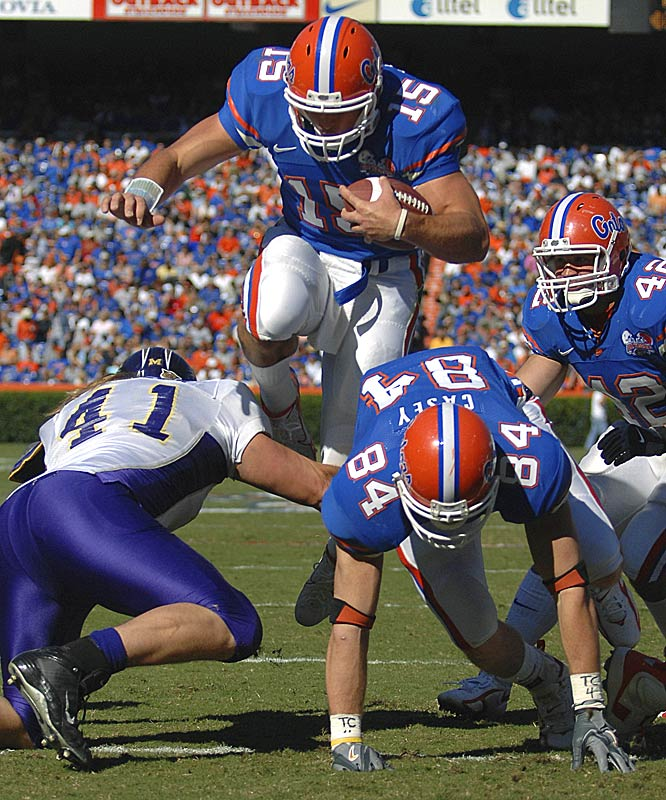 Freshman Tim Tebow ran for two touchdowns and threw for two more as Florida scored touchdowns on nine of its first 10 possessions against the I-AA opponent.