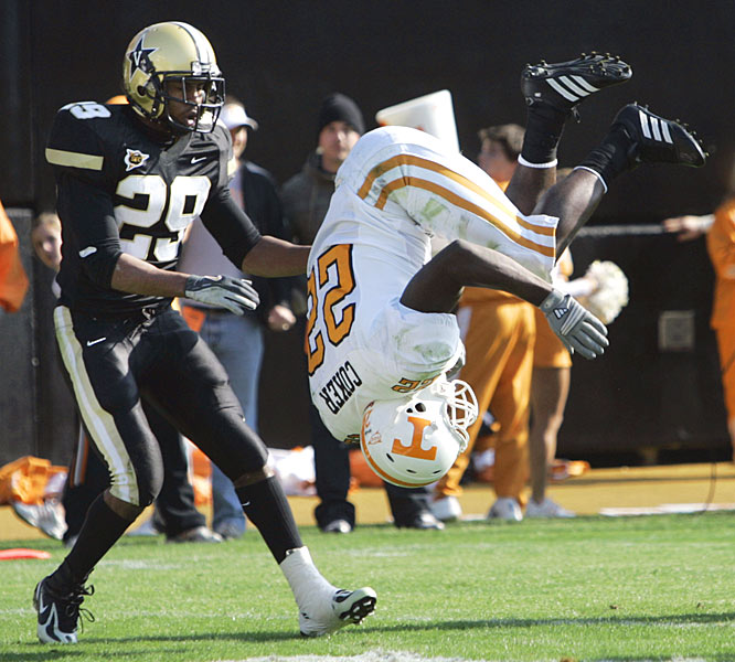 LaMarcus Coker ran for 126 yards and two touchdowns, including this one capped off by a flip into the end zone.