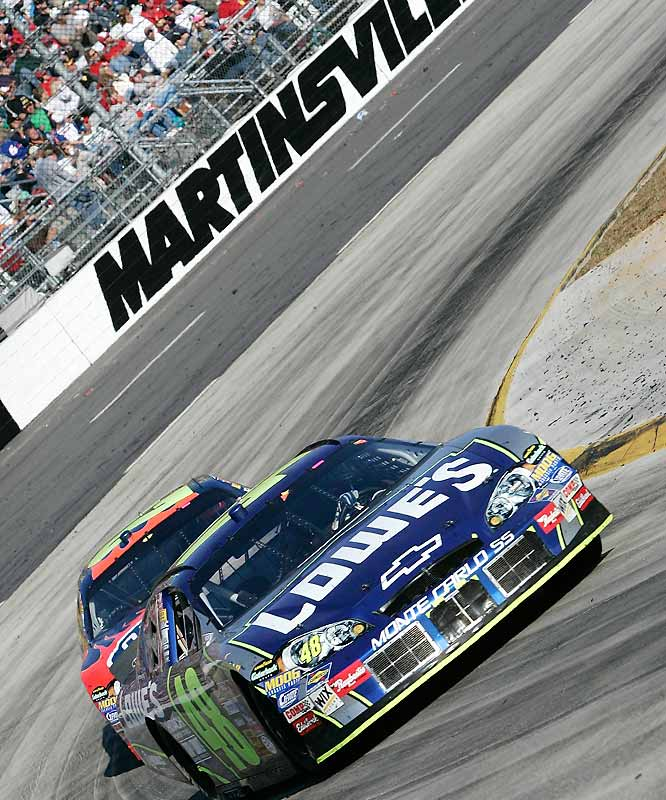 The only short track in the Chase left drivers short on patience and stuck in traffic. Jeff Burton didn't need to worry about the latter; a faulty engine cut his day short before the race's halfway point, turning the Chase upside down with a 42nd place finish.  With opportunity knocking, Jimmie Johnson (in photo) answered the door, outlasting hometown favorite Denny Hamlin in the closing stages, as the No. 48 took the checkered flag for his first win at the Speedway since a tragic plane accident killed 10 Hendrick family members, friends, and employees near Martinsville in 2004. The win allowed Johnson to close a once-impossible deficit to a manageable 41 points over new point leader Matt Kenseth.