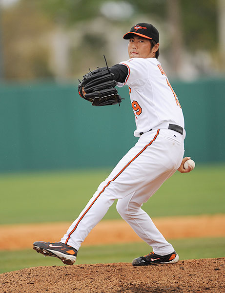 The pitcher had a chance to come to the United States in 1998, but he passed on a reported $3 million offer from the Angels to sign with the Yomiuri Giants. But in 2009, he signed with the Orioles and reached the major leagues. He has recorded 13 saves and was in contention for Baltimore's closer role, but injuries slowed his spring. In 2011 he was traded to the Rangers at midseason and helped them win the AL West.