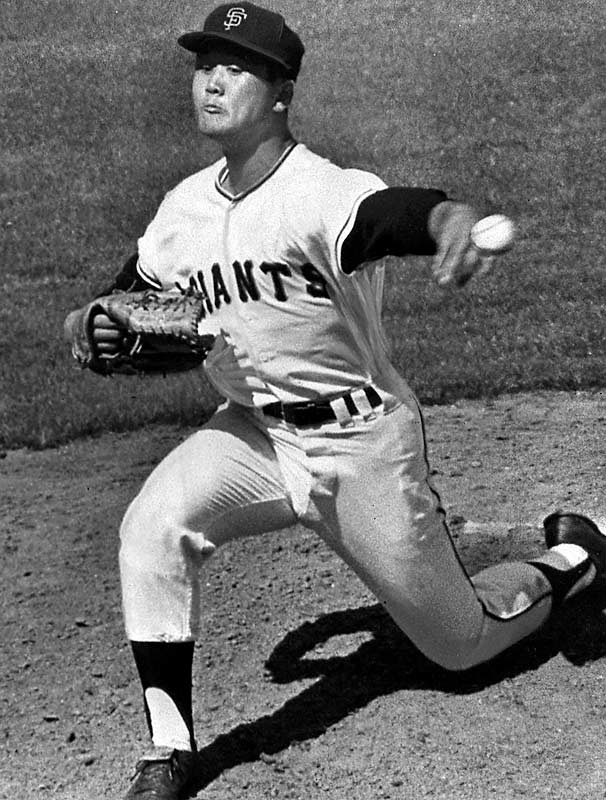 The first Japanese-born major leaguer pitched so well in a late-season callup in 1964 that the San Francisco Giants fought bitterly to retain his services. The Nankei Hawks, his Japanese club, allowed him to stay with the Giants for one more season, during which he struck out 85 batters in 74 1/3 innings before deciding to return home. Nearly three decades passed before another Japanese pitcher came to the States.