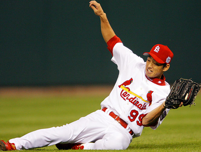 The versatile Taguchi has spent four seasons in the Cardinals organization but didn't become a semi-regular in the majors until injuries slowed Larry Walker and Reggie Sanders. He helped St. Louis reach the 2006 World Series with a go-ahead homer in Game 2 of the NLCS. He finished his eight seasons in MLB with a .279 average.