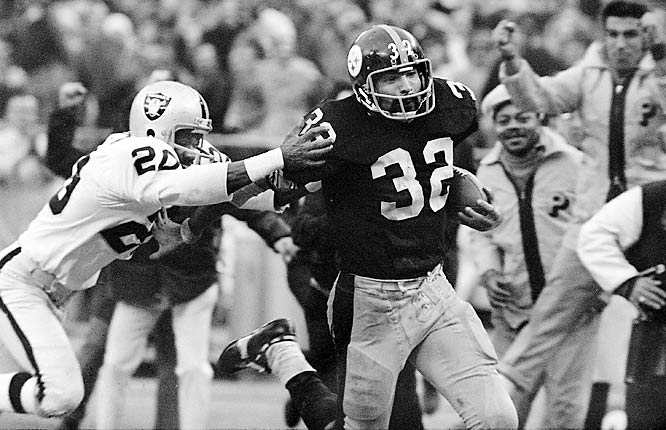 The Steelers were the joke of the NFL for many years. In 1972, they made only their second playoff appearance ever. Pittsburgh was trailing Oakland 7-6 with six seconds left in the AFC divisional playoffs when Terry Bradshaw went back to pass one last time. Under pressure, Bradshaw hurled the ball toward running back Frenchy Fuqua. The ball hit Fuqua and Raider defender Jack Tatum almost simultaneously. It caromed into the hands of Pittsburgh running back Franco Harris, who ran it in for the game-winning touchdown. The Steelers didn't win the Super Bowl that year, but they would win four championships later in the decade.
