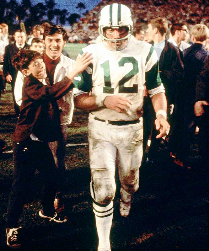 Although the AFL was gaining in stature, no one considered it the equal of the NFL in the late 1960s. Then Joe Namath came along. He led the Jets to Super Bowl III and had the nerve to guarantee New York would beat heavily favored Baltimore. He was right, the Jets pulled off a 16-7 upset, paving the way for the 1970 AFL-NFL merger.