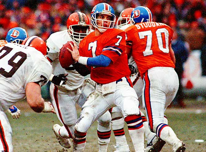 No quarterback in history was more dangerous late in the fourth quarter than the Broncos John Elway. His finest moment came in the 1986 AFC Championship Game against the Browns. Elway masterfully drove Denver 98 yards to tie the game at 20 in the final minute and the Broncos went on to win 23-20 in overtime.