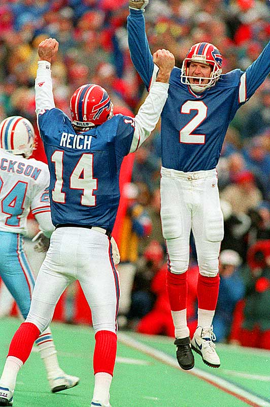 The Oilers led the Bills by 32 points in the third quarter of an AFC wild-card game and were sure they had the game under wraps, especially since Buffalo was without quarterback Jim Kelly and running back Thurman Thomas. But backup quarterback Frank Reich led an incredible comeback, leading the Bills to a 41-38 overtime win.