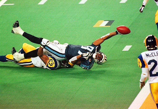 The Titans were trailing the Rams 23-16 with time running down in Super Bowl XXXIV when quarterback Steve McNair led Tennessee on a desperate final-minute drive. The Titans had one shot at the end zone with six seconds left. McNair threw a slant to receiver Kevin Dyson, who was headed toward the end zone, but linebacker Mike Jones got to him and brought him down around the one-yard line, preserving the St. Louis win.