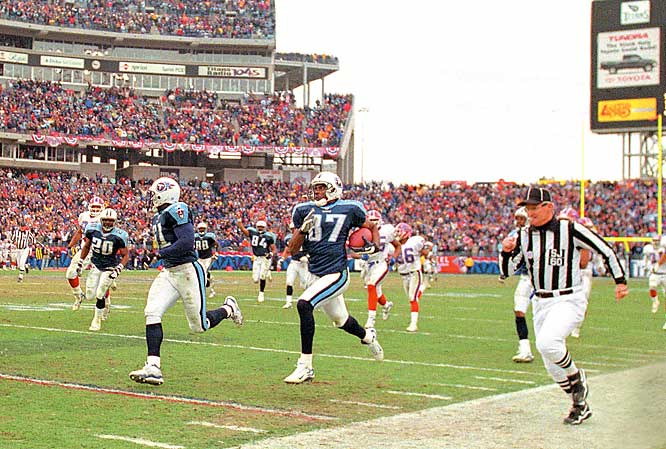 Steve Christie hit a 51-yard field goal to give Buffalo a 16-15 lead with 16 seconds remaining in an AFC wild-card game. The Bills squibbed the ensuing kickoff and the Titans' Lorenzo Neal picked it up and handed it to Frank Wycheck. The Tennesse tight end then lateraled the ball to Kevin Dyson on the other side of the field. Dyson dashed down the sideline for the game-winning touchdown. The play was controversial, since the Bills didn't believe Wycheck's lateral was backward.