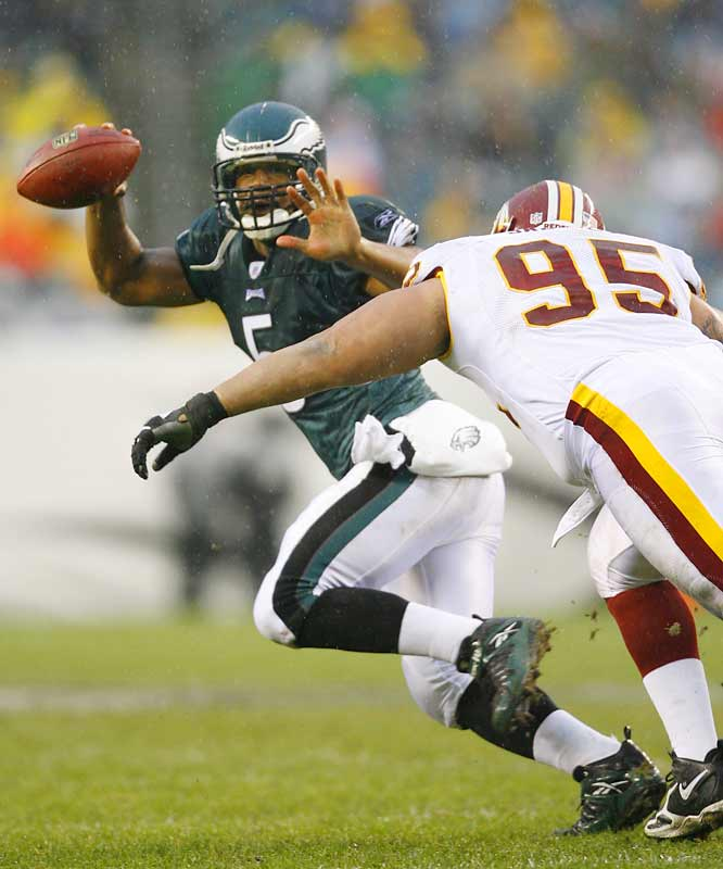 84 ... The three longest passes of Donovan McNabb's career have come in his last 12 games: a 91-yarder to Terrell Owens at Denver last year, an 87-yarder to Hank Baskett against the Cowboys and an 84-yarder to Donté Stallworth on Sunday. McNabb had no completions of 84 or more yards in his first 103 career games.
