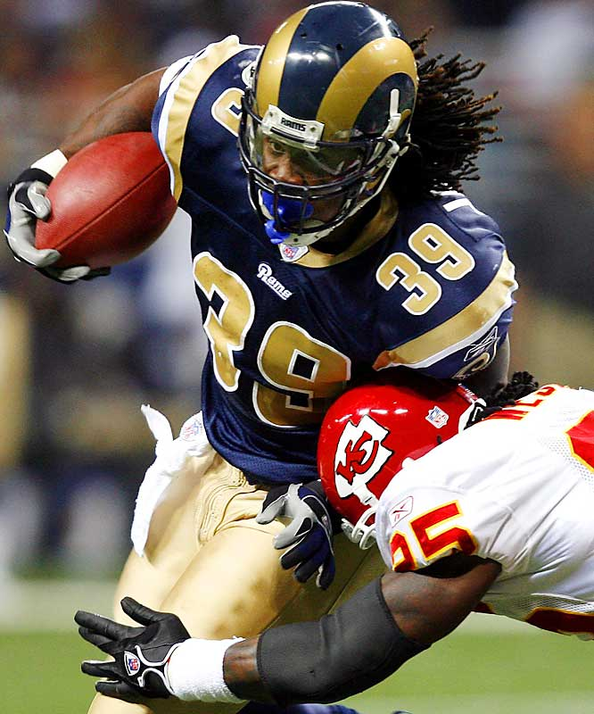 133 ... Rams running back Stephen Jackson became the first running back in NFL history to catch 13 or more passes for 133 or more yards. The closest any previous back came to that kind of receiving production was Keith Byars of the Eagles, who in 1990 was 12-for-133 receiving in a game against the Colts.