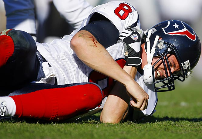 The Texans quarterback hasn't missed a game since 2003, but had to leave in the fourth quarter last week after bruising his right shoulder. While Carr's expected to play on Sunday against Buffalo, the Texans have lost offensive tackle Zach Wiegert, cornerback Lewis Sanders and defensive tackle Travis Johnson for the season.