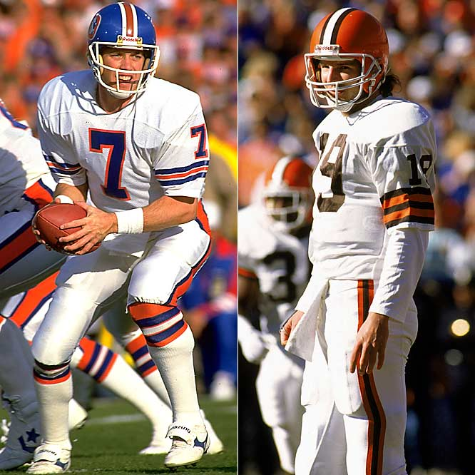 "While Kosar had nowhere near the career Elway did, there was a period in the late 1980s when the Browns and the Broncos had a vicious postseason rivalry going and the two quarterbacks were the focal point. Cleveland and Denver met in the AFC Championship Games three times and the Broncos won each one. The first contest, during the 1986 season, ended on ""The Drive,"" an incredible last-minute rescue by Elway. The 1987 game was decided by Browns RB Earnest Byner's late fumble. And in 1989 the Broncos won easily. Unfortunately for Denver fans, the Broncos lost each of the ensuing Super Bowls."