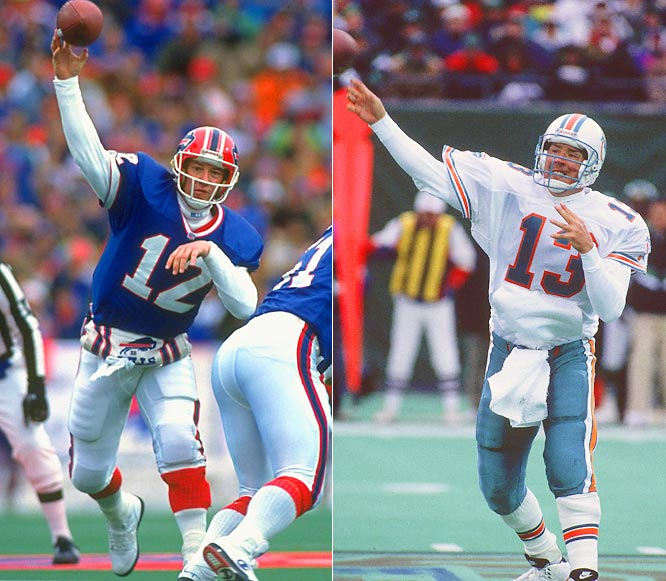 Marino and Kelly's careers could not have been more intertwined. They're both from western Pennsylvania, both were in the vaunted quarterback class of 1983 and both played in the AFC East. Marino generally put up better numbers throughout their rivalry, but Kelly's Bills won more often throughout the late '80s and early `90s.