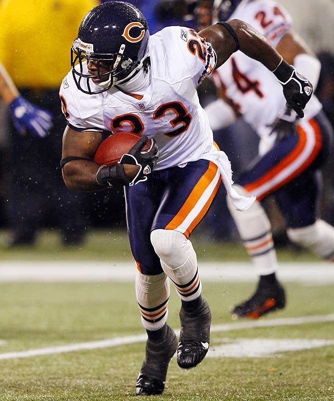 Last Week: Unranked<br><br>Hester scares his coaching staff some time, but he is electrifying. Last week he tied an NFL record by returning a missed field goal 108 yards for a key touchdown in the Bears' 38-20 win over the Giants. He is tied for second in the NFL with a 13.1 punt-return average and has two punt returns for touchdowns.
