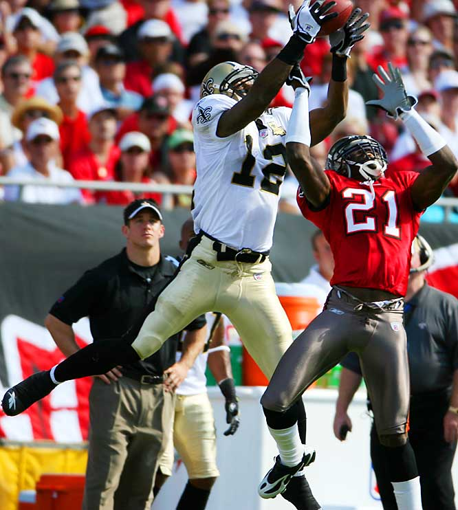 The oversized rookie Colston has become Drew Brees's go-to guy.
