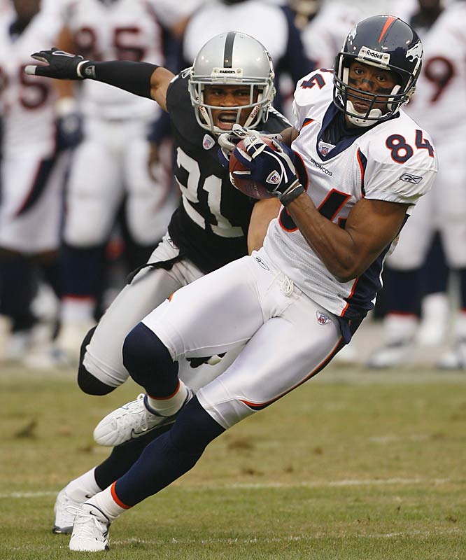 Denver wideout Javon Walker caught two passes for 62 yards and one touchdown, helping to push the Broncos past the Raiders. Walker has scored five touchdowns in his last three games, after scoring only twice in his previous six games.