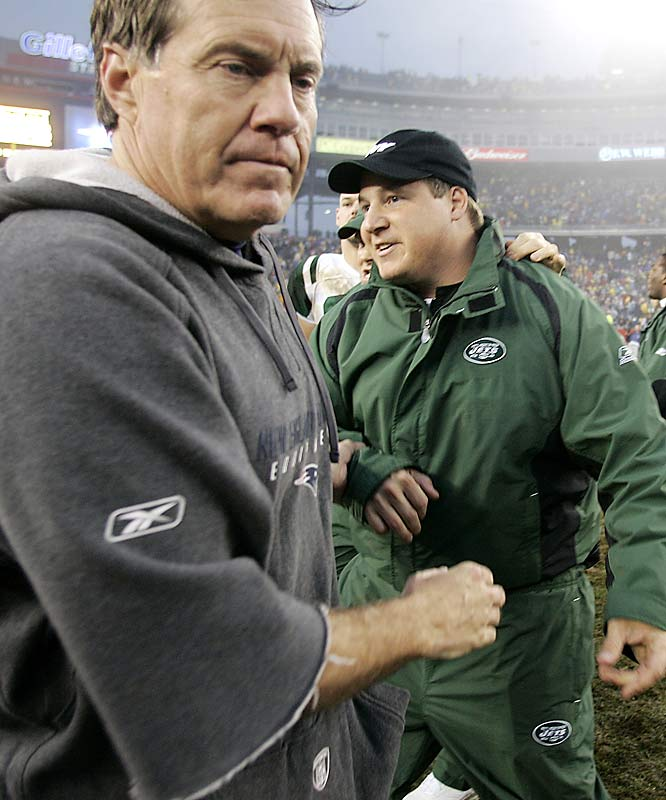 New York head coach Eric Mangini had every reason to smile after defeating his former mentor, New England head coach Bill Belichick, on a muddy field in Foxboro.  Belichick has refused to refer to the Jets coach by name since Mangini left the Patriots after five years.