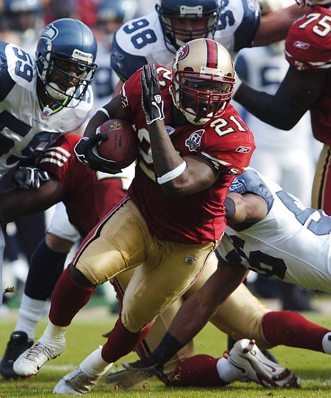Niners' running back Frank Gore rushed for a career-high 212 yards against Seattle, while reigning league MVP Shaun Alexander, who returned after missing two months with a broken foot, ran for 37 yards on 17 carries.