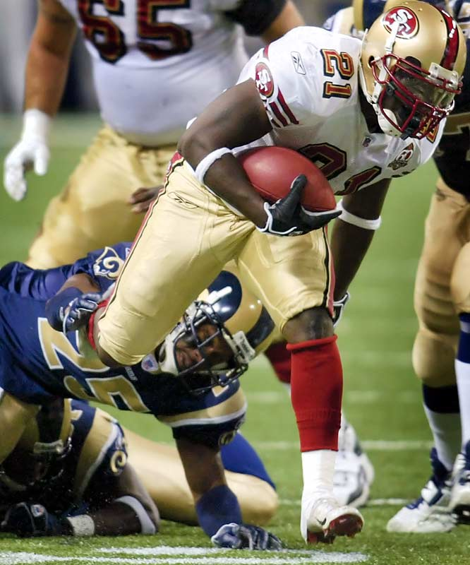 Frank Gore ran for 134 yards and a touchdown on 21 carries against St. Louis. Gore is the fifth player in six weeks to rush for over 100 yards against the Rams, the NFL's worst defense against the run.