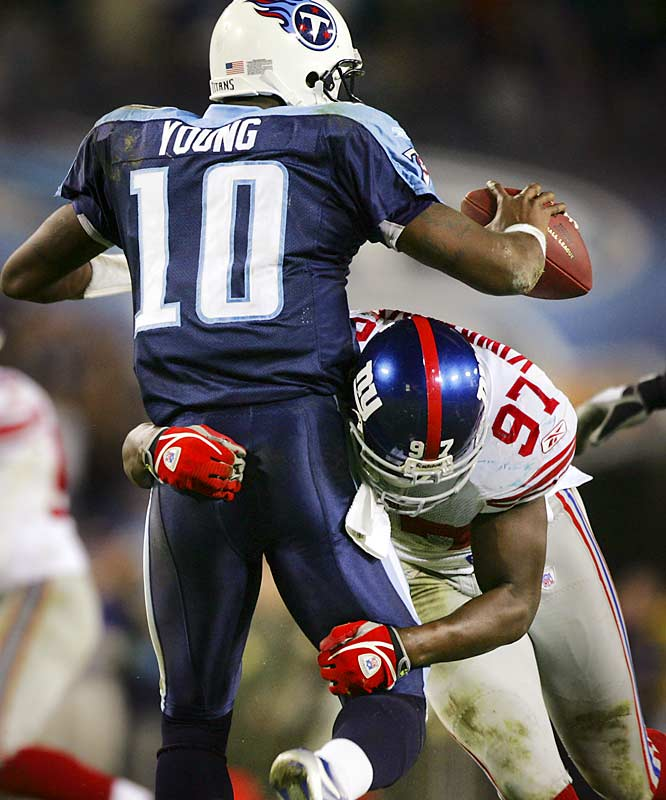 Giants' rookie defensive end Mathias Kiwanuka appeared to have a game-ending sack of Vince Young late in the fourth quarter, but let him go in fear of a roughing penalty. Young scrambled for 19 yards and a first down on 4th and 10 as the Giants blew a 21-0 lead with under 10 minutes remaining in the game.