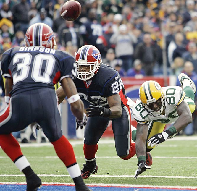 Buffalo cornerback Nate Clements tipped a pass intended for Donald Driver into the hands of rookie safety Ko Simpson late in the fourth quarter.  Simpson returned the ball 76 yards, setting up a touchdown that gave Buffalo its 14-point lead with three minutes remaining.