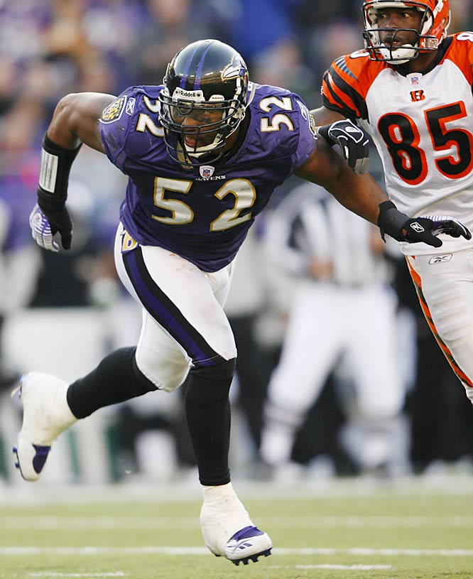 The Ray Lewis-led Baltimore defense had two interceptions and a fumble recovery against Cincinnati.