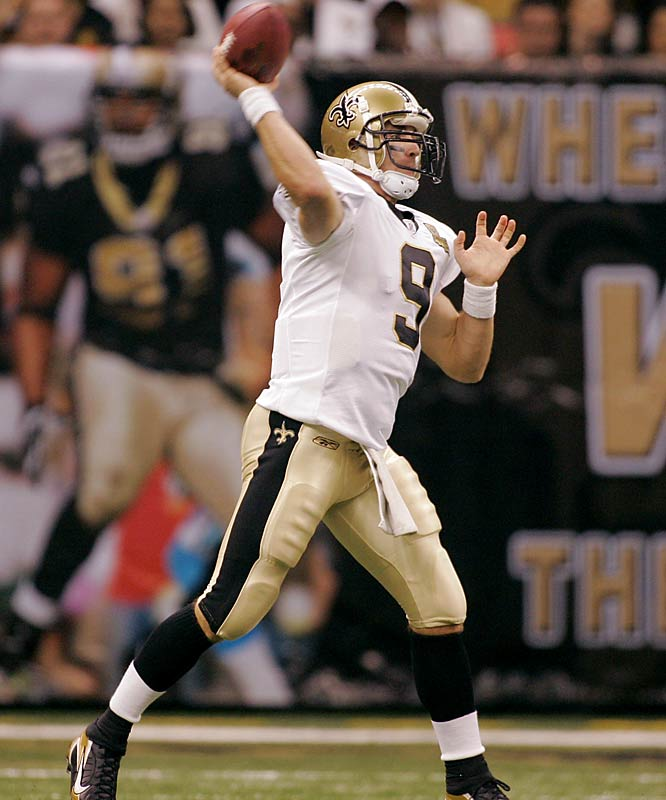 908 ... Drew Brees passed for 510 yards against the Bengals a week after throwing for 398 yards against the Steelers. His 908 yards are the third-most in NFL history in consecutive games behind only Phil Simms' 945 yards against the Cowboys (432) and Bengals (513) in 1985, and Billy Volek's 918 against the Chiefs (426) and Raiders (492) in 2004.