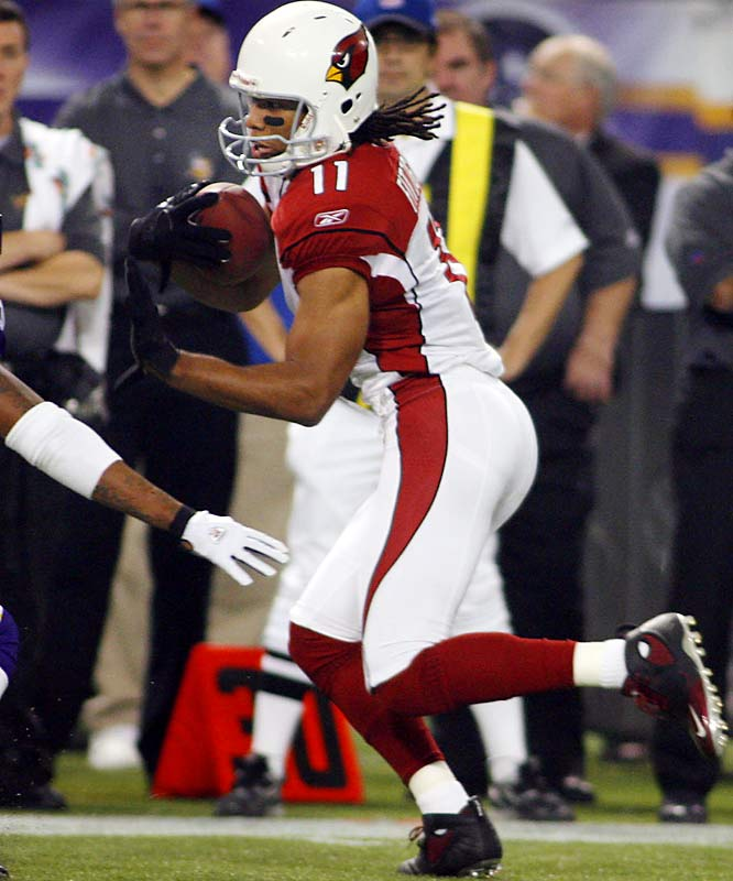 172 ... Larry Fitzgerald had 11 catches for 172 yards, becoming the second receiver in four years with 11 or more receptions and 172 or more yards. Terrell Owens of the 49ers was 12-for-191 with no touchdowns against the Raiders in 2002. Chad Johnson of the Cincinnati Bengals had 11 receptions for 260 yards this year against the Chargers.