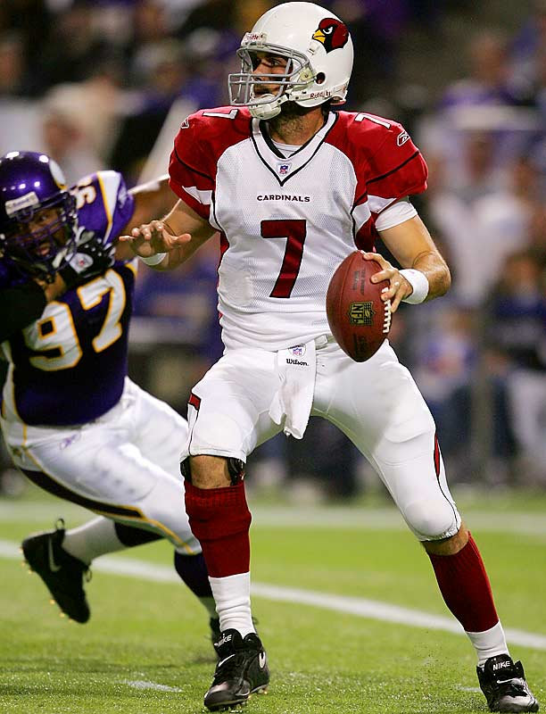 405 ... Matt Leinart threw for 405 yards against the Vikings, becoming the first rookie quarterback in NFL history to pass for 400 yards in a game. The previous rookie record was 388 yards by Jake Plummer, also of the Cards, against the Giants in 1997. Plummer broke the mark of 379 yards, set by Troy Aikman against the Cards in 1989, so the top three rookie single-game passing marks have been set either by or against the Cards, and the Cards have lost all three games.