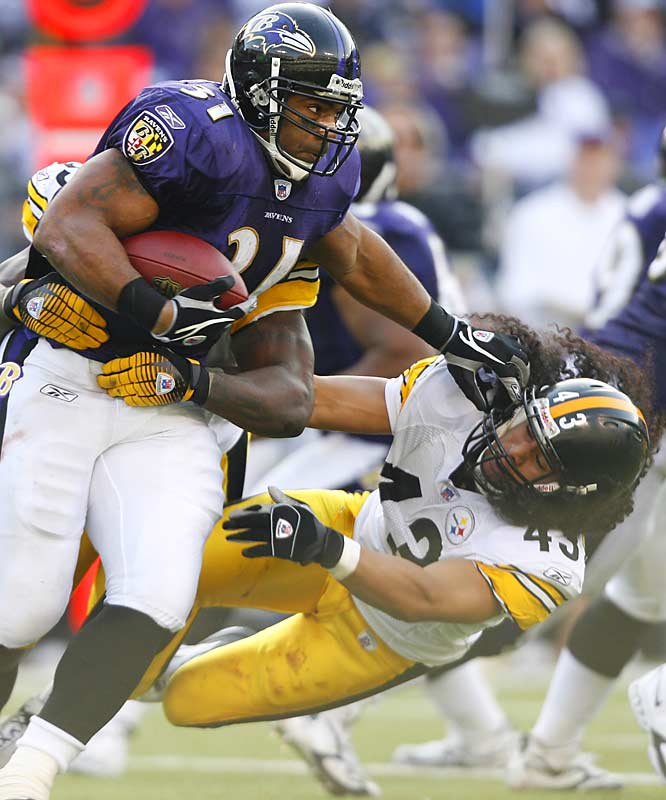 27-0 ... Troy Polamalu and the Steelers' 27-0 loss to the Ravens matched the worst by a defending NFL champion in 42 years. The Bears won the 1963 NFL Championship and lost 52-0 to the Colts in 1964. The Steelers matched the worst shutout loss by a defending Super Bowl winner in 25 years, since the 1981 Raiders lost 27-0 to the Chiefs. The Steelers are also the first Super Bowl winner to be shut out twice the next year since those same 1981 Raiders, who were blanked three weeks in a row - by the Lions, Broncos and Chiefs.